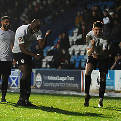 TELFORD COPYRIGHT MIKE SHERIDAN GOAL. Matt Stenson of Telford (on loan from Solihull Moors) and Theo Streete of Telford celebrate after Stenson scores to make it 3-0 the Vanarama Conference North fixture between AFC Telford United and Alfreton Town at the New Bucks Head Stadium on Thursday, December 26, 2019.<br /> <br /> Picture credit: Mike Sheridan/Ultrapress<br /> <br /> MS201920-036