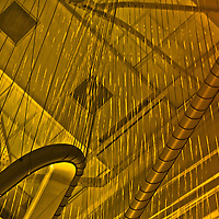 "From the moment I entered the lobby, I knew that I had stepped into an instrument. I call this series ""Inside the Harp"" because it's tubular structure and the strings reminds me of one of the most etherial instruments ever made."