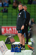 MELBOURNE, VIC - NOVEMBER 09: Melbourne City head coach Warren Joyce  looks on at the Hyundai A-League Round 4 soccer match between Melbourne City FC and Wellington Phoenix on November 09, 2018 at AAMI Park in Melbourne, Australia. (Photo by Speed Media/Icon Sportswire)