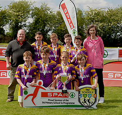 Scoil Chiarain Naofa Dorrus NS Co Galway finalists in the SPAR FAI Primary Schools 5&rsquo;s Connacht finals, pictured at Solar Park Mayo with their Cup and medals. As winners they will progress to the SPAR FAI Primary School 5&rsquo;s National Finals in the Aviva Stadium on May 31st.<br />
