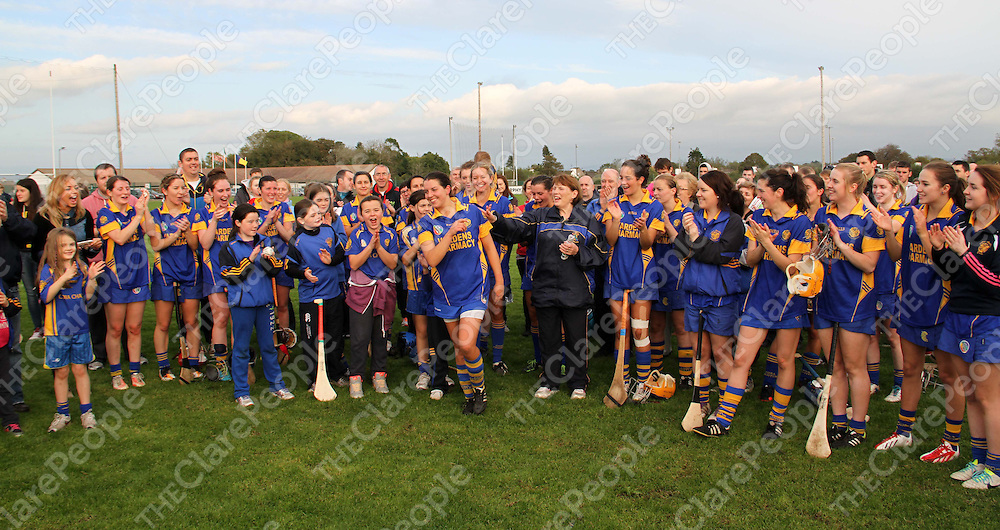 13/10/13 Newmarket's Captain Roisin McMahon is called to recieve cup after winning the Senior Camogie Final in Clarecastle. Pic Tony Grehan / Press 22