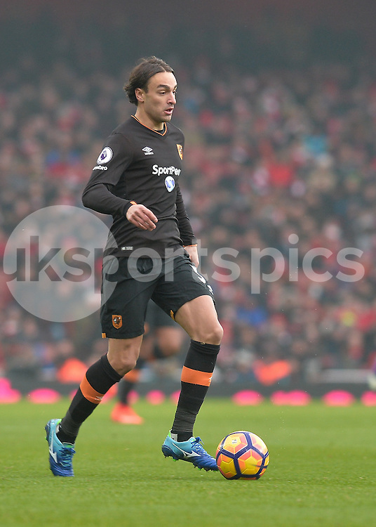 Lazar Markovic of Hull City  in action during the Premier League match between Arsenal and Hull City at the Emirates Stadium, London, England on 11 February 2017. Photo by Vince  Mignott.