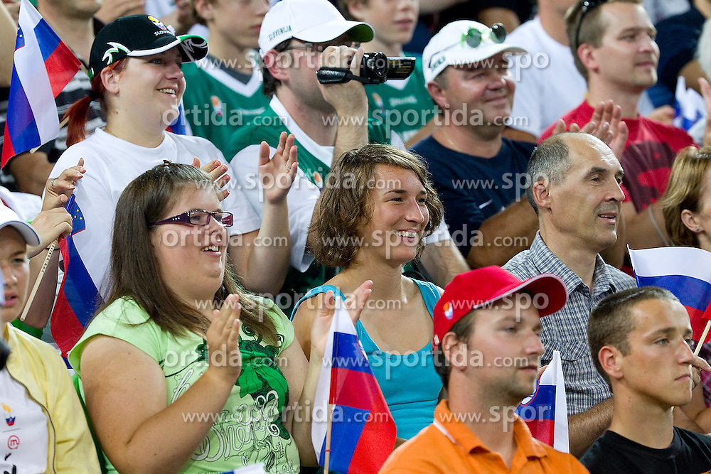 during opening ceremony and opening friendly match of a new sports arena in Stozice between National teams of Slovenia and Spain on August 10, 2010, in Ljubljana, Slovenia.  (Photo by Vid Ponikvar / Sportida)
