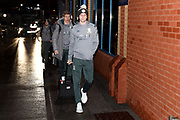 Leeds United forward Patrick Bamford (9) arriving during the EFL Sky Bet Championship match between Leeds United and Hull City at Elland Road, Leeds, England on 10 December 2019.