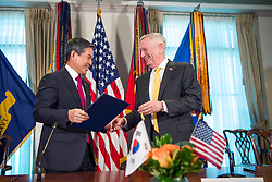 U.S. Secretary of Defense James N. Mattis meets with the Minister of Defense for the Republic of Korea Jeong Kyeong-doo during the U.S. hosted 2018 Security Consultative Meeting at the Pentagon, Washington, D.C., Oct. 31, 2018. (DoD photo by U.S. Air Force Master Sgt. Angelita Lawrence)