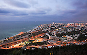 Israel, Haifa, Night view of the city and Haifa Bay from Stella Maris on the Carmel Mountain