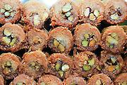 Israel, Haifa, Wadi Nisnas, konafa sweet pastries