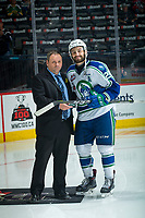 REGINA, SK - MAY 19: Giorgio Estephan #29 of Swift Current Broncos is presented the first star of the game against the Acadie-Bathurst Titan at the Brandt Centre on May 19, 2018 in Regina, Canada. (Photo by Marissa Baecker/CHL Images)