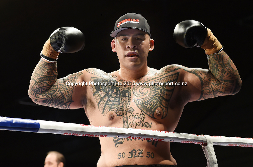Brown Buttabean. Boxing. Burger King Road to the Title, Vodafone Arena, Auckland, New Zealand. Thursday 5 March 2015. Copyright Photo: Andrew Cornaga / www.photosport.co.nz.