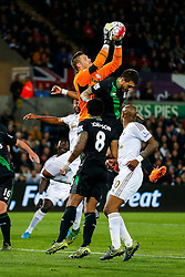 Jack Butland of Stoke City saves - Mandatory byline: Rogan Thomson/JMP - 07966 386802 - 19/10/2015 - FOOTBALL - Liberty Stadium - Swansea, Wales - Swansea City v Stoke City - Barclays Premier League.