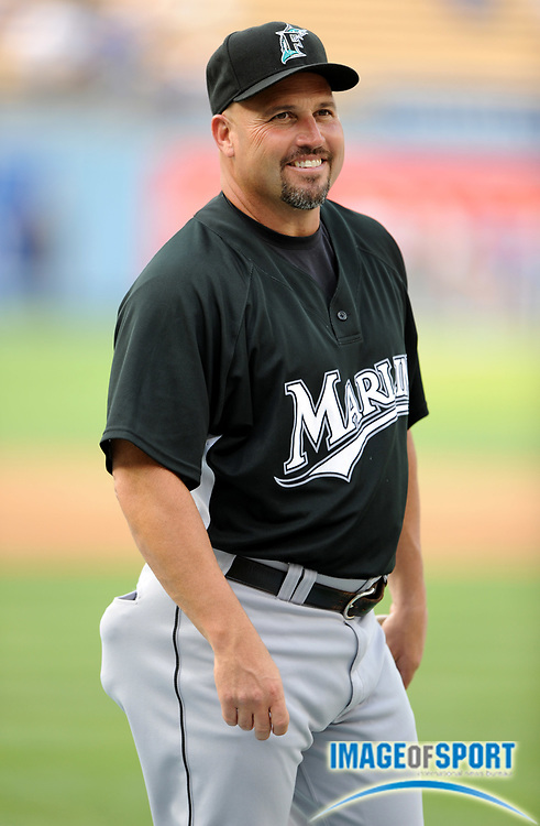 Jul 11, 2008; Los Angeles, CA, USA; Florida Marlins manager Fredi Gonzalez (33) during batting practice before game at Dodger Stadium.