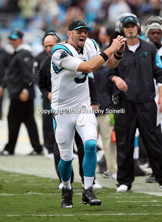 Carolina Panthers quarterback Derek Anderson (3) yells out and celebrates after the Panthers score a touchdown good for a 27-16 fourth quarter lead during the 2015 NFL week 3 regular season football game against the New Orleans Saints on Sunday, Sept. 27, 2015 in Charlotte, N.C. The Panthers won the game 27-22. (©Paul Anthony Spinelli)