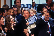 President Bill Clinton holds nephew Tyler with daughter Chelsea after his acceptance speech the Democratic National Convention August 29, 1996 in Chicago, IL.