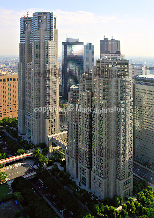 Tokyo Metropolitan Government Main Office Buildings #1 [left] and #2 [right], completed in 1991 at a cost of 157 billion yen, house the offices of the Tokyo city government and its 23 wards.