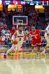 NORMAL, IL - February 16: Keyshawn Evans sprints past defender Darrell Brown during a college basketball game between the ISU Redbirds and the Bradley Braves on February 16 2019 at Redbird Arena in Normal, IL. (Photo by Alan Look)