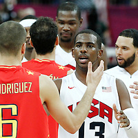 12 August 2012: Spain Sergio Rodriguez is congratulated by Chris Paul at the end of the 107-100 Team USA victory over Team Spain, during the men's Gold Medal Game, at the North Greenwich Arena, in London, Great Britain.