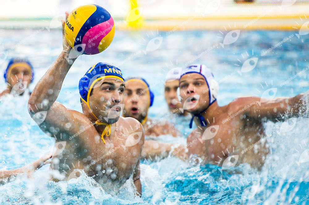 11 KLIKOVAK Filip MNE<br /> RUS(white) vs MNO(blue)<br /> LEN European Water Polo Championships 2014<br /> Alfred Hajos -Tamas Szechy Swimming Complex<br /> Margitsziget - Margaret Island<br /> Day02 - July 15 <br /> Photo G. Scala/Inside/Deepbluemedia