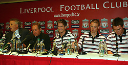 LIVERPOOL, ENGLAND - Thursday, July 10, 2003: Liverpool's new signings Harry Kewell (centre), Anthony Le Tallec (r), Steve Finnan (far right) with manager Gerard Houllier and Chief-Executive Rick Parry (far left) at a press conference at Anfield. (Pic by David Rawcliffe/Propaganda)