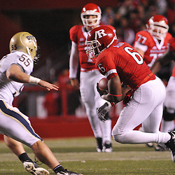 Oct 16, 2009; Piscataway, NJ, USA; Rutgers wide receiver Mohamed Sanu (6) runs after a catch during first half NCAA football action in Pittsburgh's 24-17 victory over Rutgers at Rutgers Stadium.
