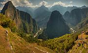 Huayna Picchu peak (left) and Urubamba valley from terraces below Macchu Picchu, 'lost' city of the Incas, near Cuzco, Peru