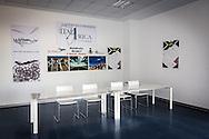 Pisticci Scalo, Basilicata, Italia 27/01/2016 <br /> La sala conferenze all'interno dell'aerostazione dell'aviosuperficie &quot;E.Mattei&quot; di Pisticci Scalo. La struttura &egrave; gestita dalla societ&agrave; Winfly<br /> <br /> La struttura venne realizzata negli anni '60, durante l'industrializzazione della val Basento, su iniziativa di Enrico Mattei, per una sua personale maggiore rapidit&agrave; di spostamento tra i siti ENI.<br /> <br /> Pisticci Scalo, Basilicata, Italy, 27/01/2016<br /> The press conference room into the terminal building of the airstrip &quot;E.Mattei&quot; in Pisticci Scalo, Basilicata region. The airstrip is managed by Winfly company.<br /> <br /> The structure, a simple airstrip, was built in the 60s, during the industrialization of the Basento valley, on the initiative of Enrico Mattei, for a faster personal transfer between ENI company sites.