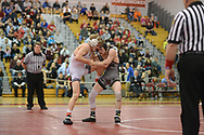 Pennridge's Matt Parker (right) battles with Boyertown's David Campbell during the 120 pound match Saturday, March 4, 2017 at Souderton High School in Franconia, Pennsylvania. (Photo by William Thomas Cain)