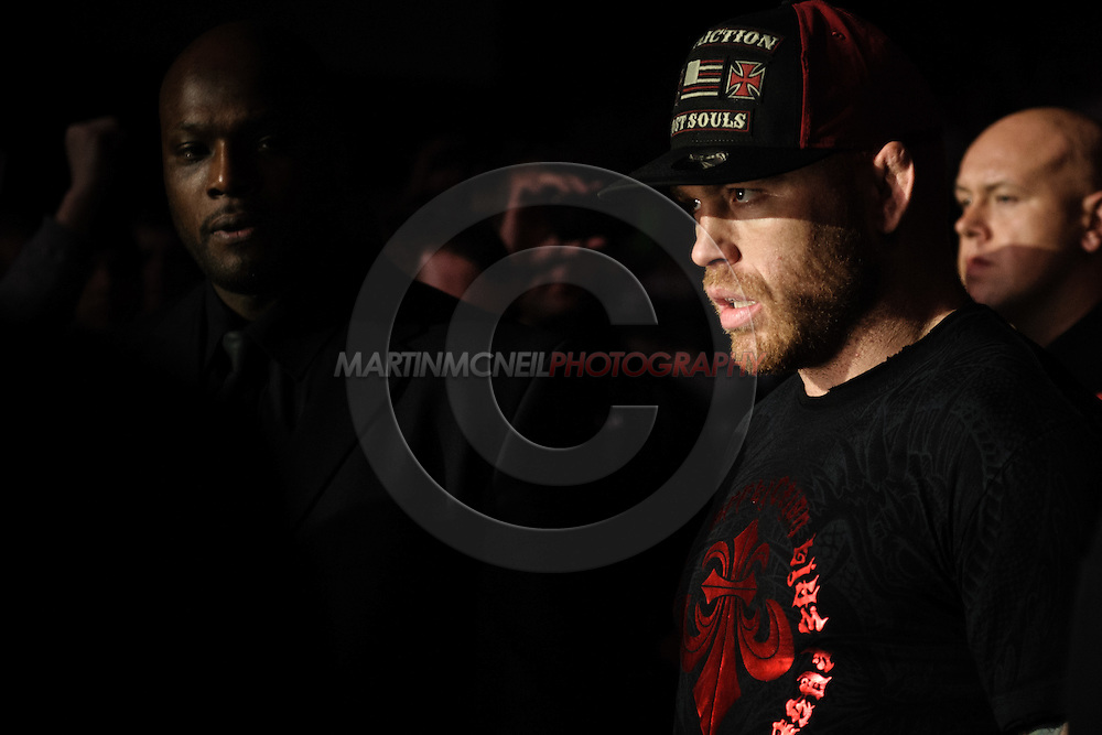 "BIRMINGHAM, ENGLAND, NOVEMBER 5, 2012: Chris Leben enters the arena during ""UFC 138: Munoz vs. Leben"" inside the National Indoor Arena in Birmingham, United Kingdom"