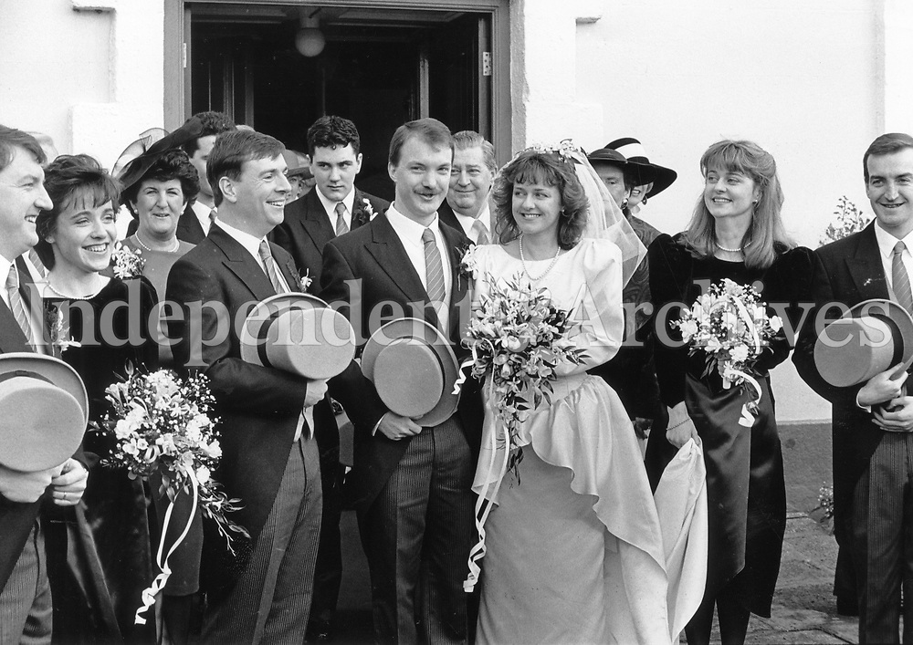 Wedding of politian Sean Haughey and Orla O'Brien on Febuary 8, 1991. (Part of the NLI/Independent Newspapers collection)