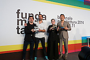 "Venice, Italy. 14th Architecture Biennale 2014, ""fundamentals"".<br /> The Awards Ceremony: the Winners (from l.: Silver Lion for a National Participation to Chile; Phyllis Lambert, Golden Lion for Lifetime Achievement; Golden Lion for Best National Participation to Korea."