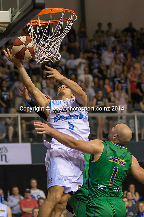 Breakers` Shea Ill scores in the game between SkyCity Breakers v Townsville Crocodiles. 2014/15 ANBL Basketball Season. North Shore Events Centre, Auckland, New Zealand, Friday, December 19, 2014. Photo: David Rowland/Photosport