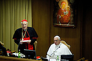 12th feb 2015 Vatican City, opening session of the Extraordinary Consistory. In the picture Card. Angelo Sodano and pope Francis