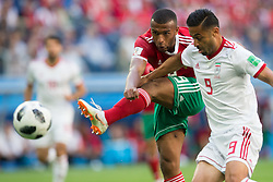 Ayoub El Kaabiu (MAR), Omid Ebrahimi (IRN) during the World Cup Group B football match between Morocco and Iran at the St.Petersburg Arena, in St.Petersburg, Russia, June 15, 2018. Iran won the game 1-0. Photo by Lukasz Skwiot/Cyfrasport/Newspix/ABACAPRESS.COM