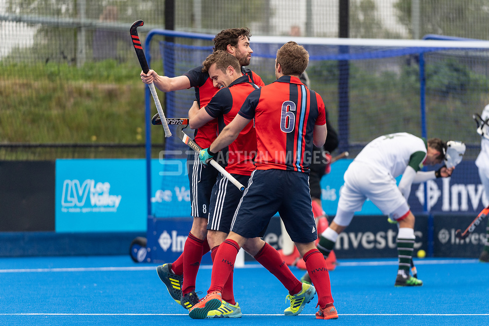 Hampstead & Westminster's Chris Cargo celebrates scoring. Hampstead & Westminster v Surbiton - Men's Hockey League Final, Lee Valley Hockey & Tennis Centre, London, UK on 29 April 2018. Photo: Simon Parker