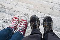 Newlyweds Sitting on The Spanish Steps, Rome, Italy