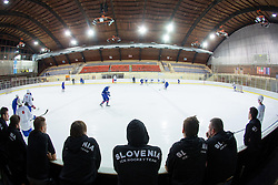 Players watching team U20 practice before first practice of Slovenian National Ice Hockey team before EIHC tournament in Innsbruck, on November 4, 2013 in Ledena dvorana Bled, Bled, Slovenia. (Photo by Matic Klansek Velej / Sportida.com)