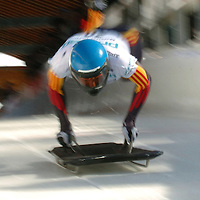 11 February 2005:  Kathleen Lorenz of Germany participates in the FIBT World Cup Women's Skeleton on Friday February 11, 2005 at the Lake Placid bobsledding complex in Lake Placid, NY.