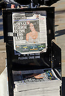 London, England - October 03, 2016: Newspaper Headline of Kim Kardashian Robbery in Paris apartment where £8.5 Million worth of Jewellery was stolen at gunpoint.
