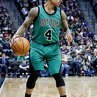 10 March 2017: Boston Celtics guard Isaiah Thomas (4) dribbles during the Denver Nuggets 119-99 victory over the Boston Celtics, at the Pepsi Center, Denver, Colorado, USA.