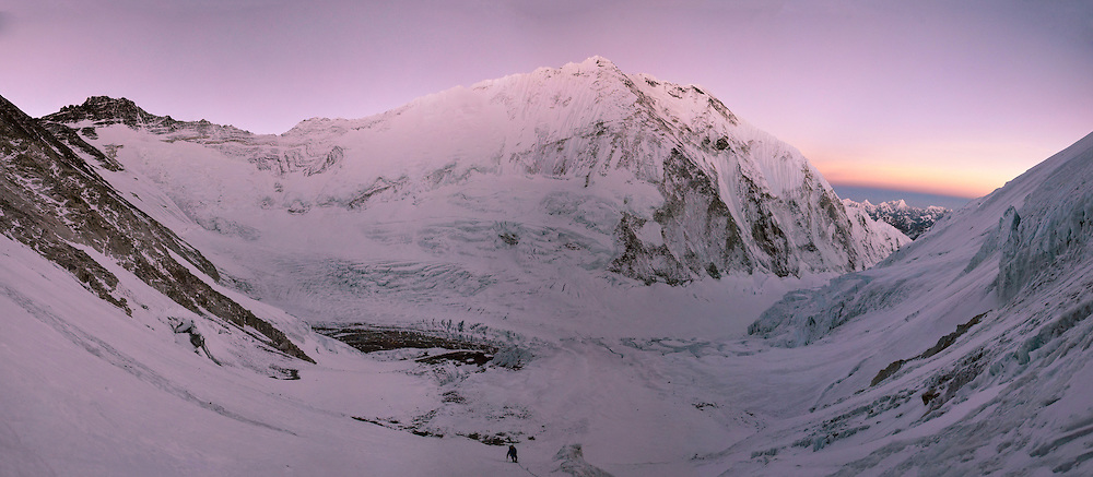 Panorama of David Morton ascending the West Ridge Headwall on Mount Everest, Nepal.<br />