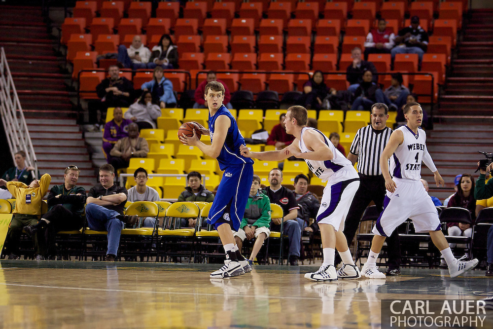 November 27th, 2010:  Anchorage, Alaska - Sophomore center for Drake, Seth VanDeest backs the ball towards the hoop in the Drake Bulldogs 81-82 loss to Weber State in the third place game at the Great Alaska Shootout.