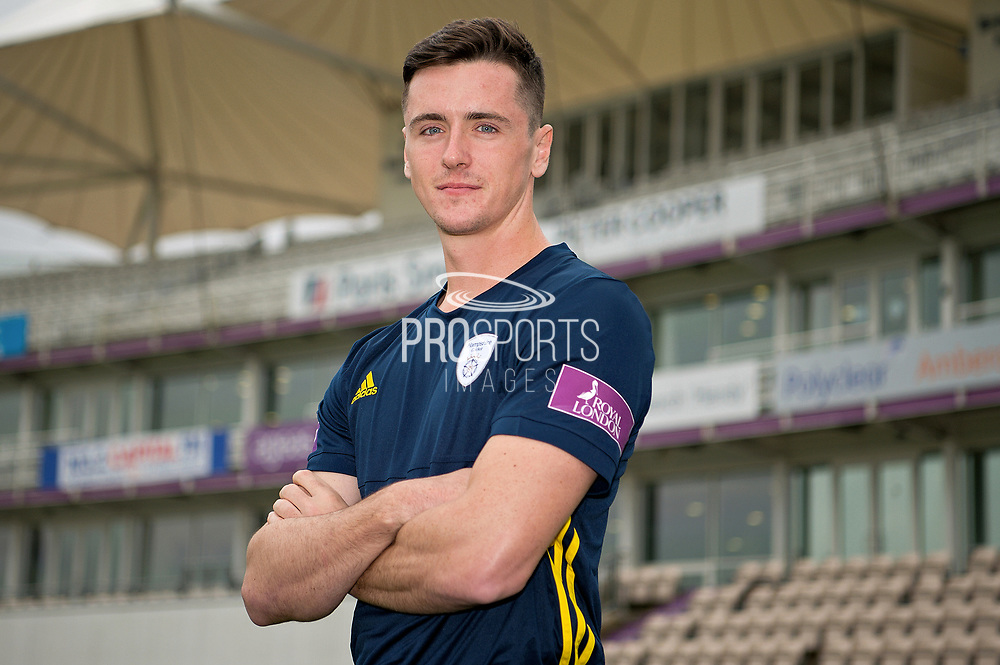 Portrait of Chris Sole in front of the pavilion during the Hampshire County Cricket Club Media Day at the Ageas Bowl, Southampton, United Kingdom on 10 April 2018. Picture by Dave Vokes.