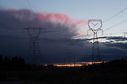 High voltage towers carrying electricity from dams along the Clackmas River near Estacada, Oregon.