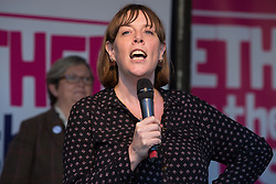London, UK. 19 October, 2019. Jess Phillips, Labour MP for Birmingham Yardley, addresses hundreds of thousands of pro-EU citizens at a Together for the Final Say People's Vote rally in Parliament Square as MPs meet in a 'super Saturday' Commons session, the first such sitting since the Falklands conflict, to vote, subject to the Sir Oliver Letwin amendment, on the Brexit deal negotiated by Prime Minister Boris Johnson with the European Union.