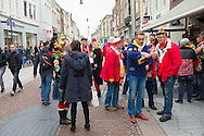 Nederland, Den Bosch, 20160305.<br /> Carnaval in Oeteldonk. Op zondag is de uitgestelde Carnavalsoptocht. Maar ook op zaterdag zijn er verklede carnavalvierders die feest vieren op straat.<br /> <br /> <br /> Netherlands, Den Bosch, 20160305.<br /> Carnival in Oeteldonk. On Sunday, the deferred Carnival parade will be held. But on Saturday there are already costumed carnival revelers to celebrate in the streets.