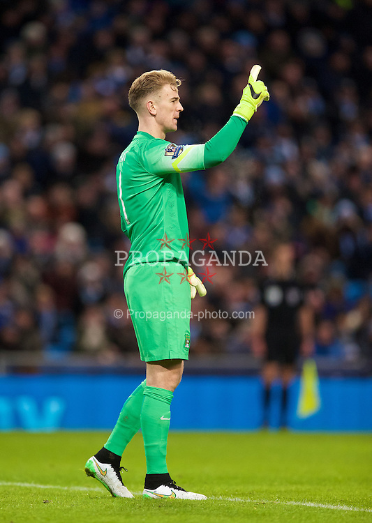 MANCHESTER, ENGLAND - Sunday, January 18, 2015: Manchester City's goalkeeper Joe Hart in action against Arsenal during the Premier League match at the City of Manchester Stadium. (Pic by David Rawcliffe/Propaganda)