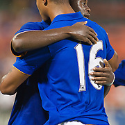 Everton Attacker Magaye Gueye #19 (Left) and Attacker Jermaine Beckford #16 congratulate each other after Gueye scores in the 82 minute of the MLS International friendly match between Everton FC of England and DC United...Everton FC Defeated DC United 3-1 Saturday, July 23, 2011, at  RFK Stadium in Washington DC.