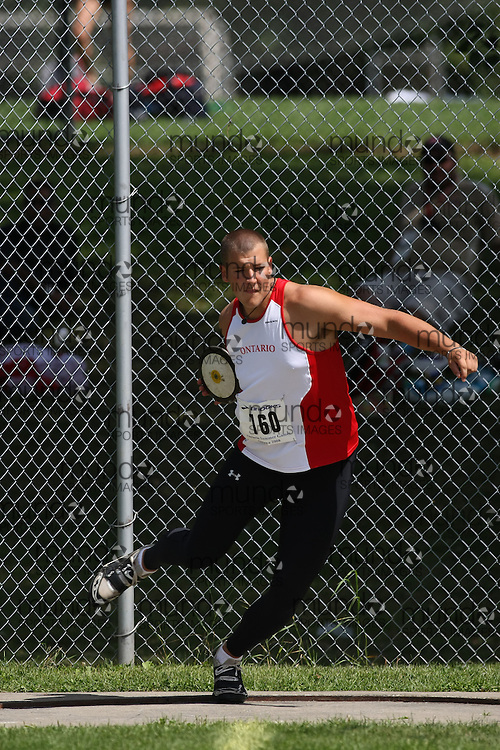 (Ottawa, Ontario---15 August 2008)  Zack Ford of Ontario White competing in the men's discus at the 2008 Ontario Summer Games and Ontario v. Quebec v. Atlantic Canada Espoire Meet. Photo copyright Sean Burges/Mundo Sport Images. More details can be found at www.msievents.com.