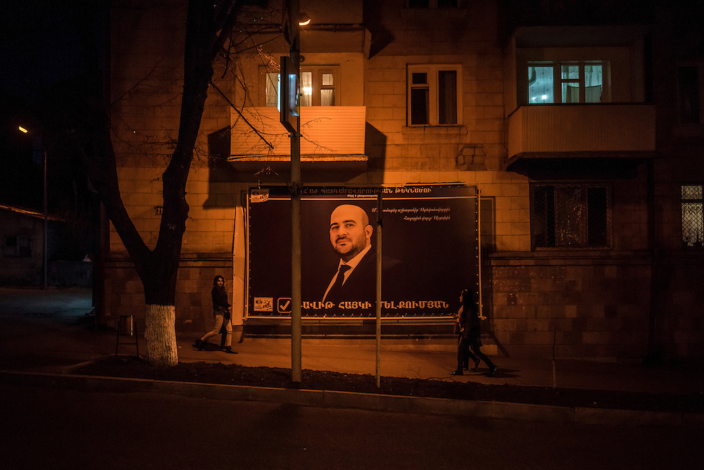 STEPANAKERT, NAGORNO-KARABAKH - APRIL 17: A campaign poster for upcoming parliamentary elections on February 21, 2015 in Stepanakert, Nagorno-Karabakh. Since signing a ceasefire in a war with Azerbaijan in 1994, Nagorno-Karabakh has functioned as a de facto part of Armenia, with hostilities along the line of contact between Nagorno-Karabakh and Azerbaijan occasionally flaring up and causing casualties. (Photo by Brendan Hoffman/Getty Images) *** Local Caption ***