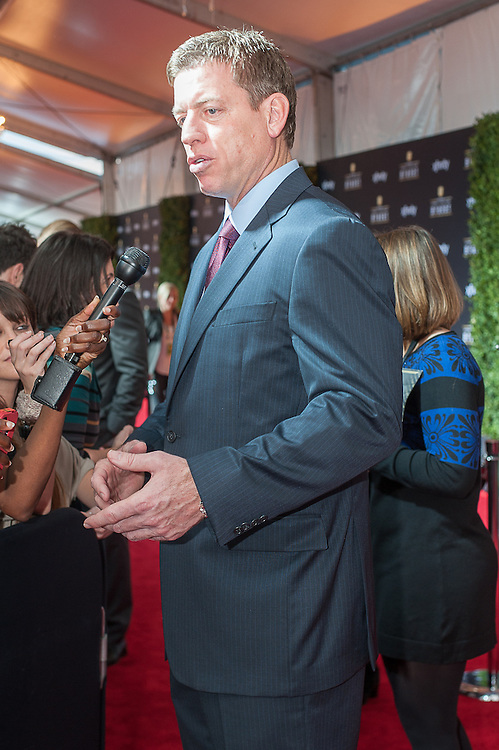Former NFL Troy Aikman posing at the Mahalia Jackson Theatre NFL Honors in New Orleans, Louisiana on Feb.2 2013.