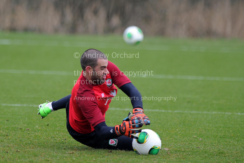 Wales goalkeeper Boaz Myhill in action. Wales football team training and player media session in Cardiff on Tuesday 19th March 2013.  The team are together ahead of their next two World cup qualifying matches against Scotland and Croatia. pic by Andrew Orchard, Andrew Orchard sports photography,